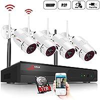 Système de Sécurité sans Fil,Kits de WiFi Vidéosurveillance ANRAN,4CH 1080p Caméras Hydrofuge et Infrarouge,Vision Nocture,Intérieux/Extérieur,Intérer & Activer,Accès à Distance,1TB Disque Dur