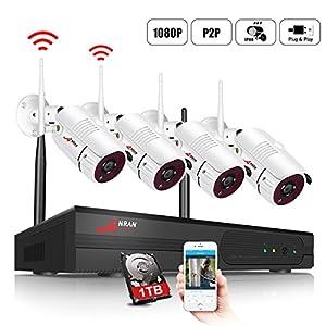 sistemas de vigilancia por internet: ANRAN Kit de Cámaras Seguridad WiFi Vigilancia Inalámbrica Sistema 4CH 1080P con...