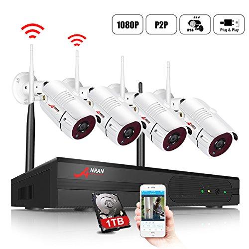4CH 1080P HD Überwachungskamera Aussen WLAN Set, ANRAN Wireless NVR System Funk Überwachungsset mit 1TB Festplatte Plus 4 X 2.0MP WiFi Outdoor Netzwerk Außen IP Überwachungskamera Kabellos