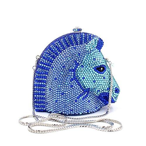Europa und Amerika Luxus Strass Pferd Abend Tasche Damen Lieblings Handtasche Hochzeitsfeier Kupplung Geldbeutel Metallrahmen A