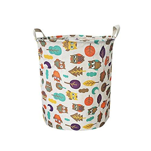Kangrunmys Panier à Linge Pliable Coton Tissu Portable 50 * 40Cm(62L) avec PoignéE en Corde Sac Cylindriques Laundry