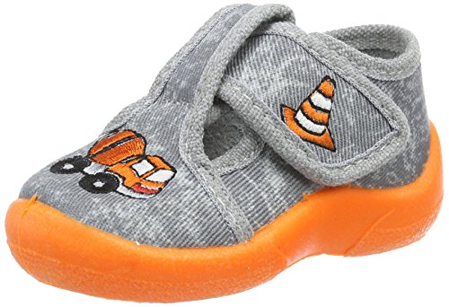 Fischer Mini, Chaussons pour enfant bébé garçon Mehrfarbig (grau/orange)