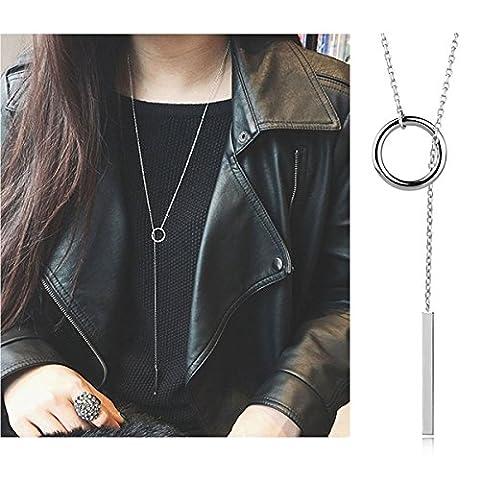 Tpocean Mode Long Argent Collier ras du cou Pull Chaîne Collier Charm pendentif Bijoux pour filles/femmes Élégant pour femme