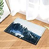 SRJ2018 Montagne Coperte di Neve Bianca ricoperte di pini Super Assorbente, Tappetino Antiscivolo o zerbino, Morbido e Confortevole