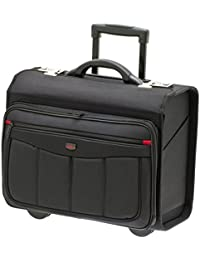 Pilotenkoffer Aktentrolley Business Trolley tasche Laptoptasche 47x39x24 cm Schwarz Bowatex