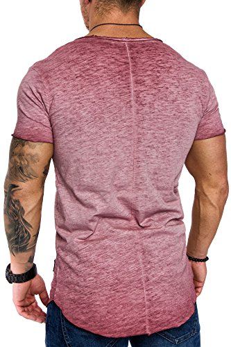 Amaci&Sons Oversize Herren Vintage T-Shirt Verwaschen V-Neck Basic V-Ausschnitt Shirt 6034 Bordeaux M - 3