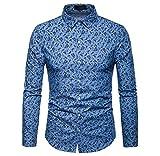 Luckycat Herren Herbst Winter Luxus Casual Paisley Print Langarm Shirt Top Bluse Mode 2018