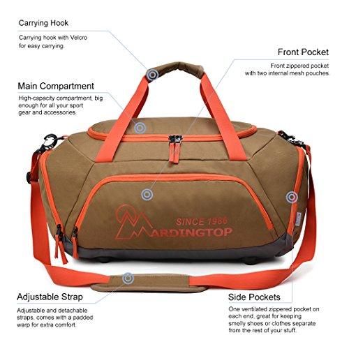 7e96b084cc628 ... Mardingtop 40L Sporttasche Duffle Tasche Reisetasche Gym Bag Fitness  Tasche Umhängetasche für Damen und Herren Schwarz