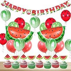 Idea Regalo - JOYMEMO Compleanno di Decorazioni di Anguria Compleanno per Le Ragazze Buon Compleanno Banner Anguria Agata Pois Palloncini Cupcake Toppers