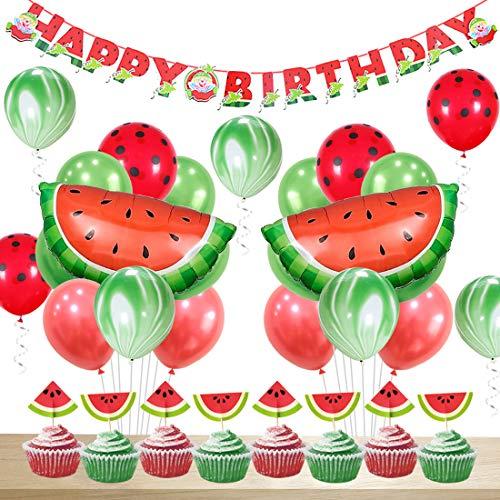 JOYMEMO Wassermelone Party Dekorationen Geburtstag für Mädchen Happy Birthday Banner Wassermelone Achat Polka Dot Ballons Cupcake Topper