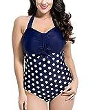 ShiFan Mujer Cuello Halter Bañador Tallas Grandes Traje De Baño De Una Pieza Sin Respaldo Bikini Push Up Blanco 48