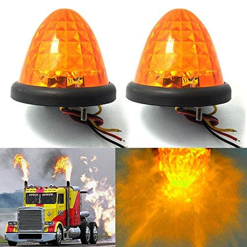 Preisvergleich Produktbild Hrph 2pcs 3inch 16-LED Auto-LKW-seitliche Markierungs-Lichter Bernstein-Bienenstock-Haube-Abstand-Kabinen-Dach 24V