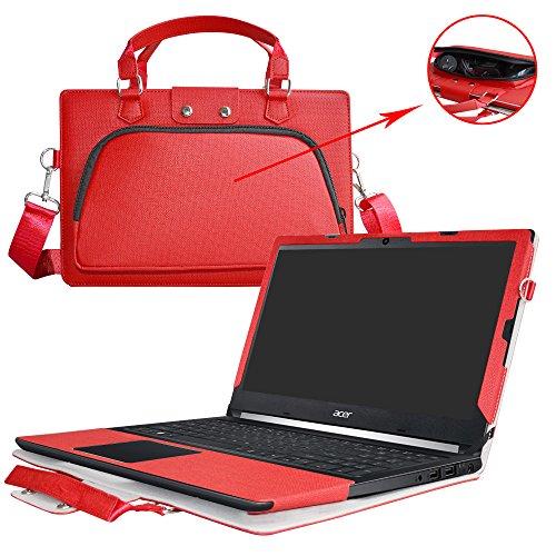 """Aspire 5 15 Hülle,2 in 1 Spezielles Design eine PU Leder Schutzhülle + Portable Laptoptasche für 15.6\"""" Acer Aspire 5 A515-51G A515-51 Series Notebook(Nicht geeignet für Aspire 5 A517-51 Series),Rot"""
