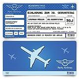 Einladungskarten zum Geburtstag (10 Stück) als Flugticket Ticket Karte Einladung in Blau