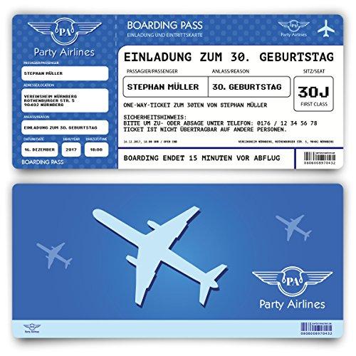 Preisvergleich Produktbild Einladungskarten zum Geburtstag (80 Stück) als Flugticket Ticket Karte Einladung in Blau