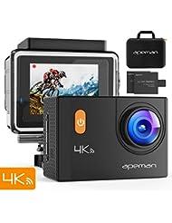 APEMAN Caméra Sport 4K WiFi 20MP Ultra HD Caméra d'Action Etanche 30M 170 °Grand-Angle, 2 pouces LCD, avec 2 Batterie et inclut des Kits Complets d'Accessoires