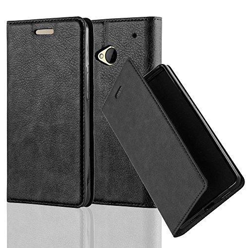 Cadorabo Hülle für HTC ONE M7 (1.Gen.) - Hülle in Nacht SCHWARZ - Handyhülle mit Magnetverschluss, Standfunktion und Kartenfach - Case Cover Schutzhülle Etui Tasche Book Klapp Style (Kamera One M7 Htc)