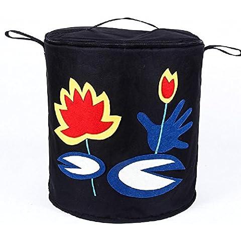 YYH Grande cesto pieghevole nero lavanderia deposito carrello giocattolo ordinamento
