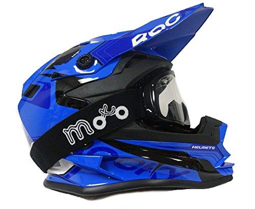 Kinder Motocross Helm 3GO xk-188Rocky Cub Motorrad Quad Bike Off Road Junior MX BLAU Helm + X1schwarz Skibrille, L