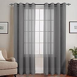 TOPICK Voile Vorhang mit Ösen Transparent Gardine 2 Stücke Gaze paarig Ösenschals Fensterschal Vorhänge 225 cm x 140 cm (H x B), 2er - Set, Grau
