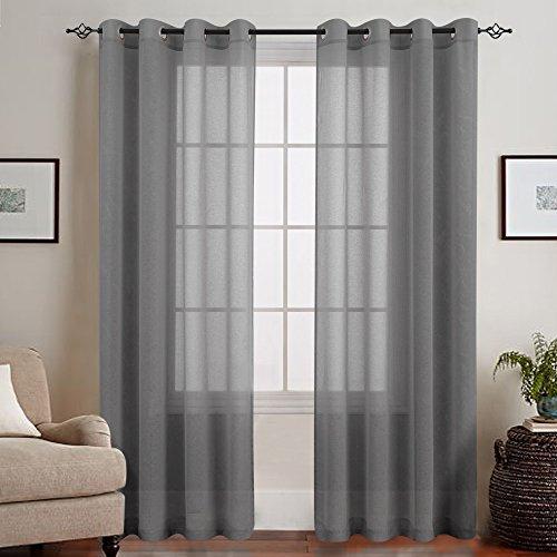 TOPICK Grau Lange Gardinen Vorhang für Wohnzimmer transparent mit Ösen Ösenschal dekoschal Voile 225 x 140 cm (H x B) 2er Set - Wohnzimmer-sets Für Vorhänge