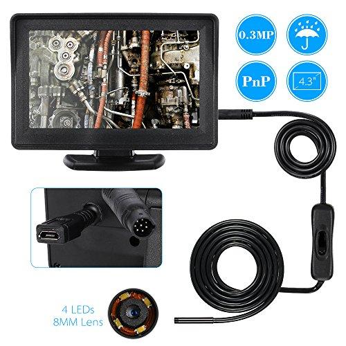 Preisvergleich Produktbild KKmoon 8mm Endoskop Inspektion Endoskop Rohr Schlange Kamera Video DVR 4, 3 Zoll überwachen 4LEDS Night Vision wasserdicht 1 Meter