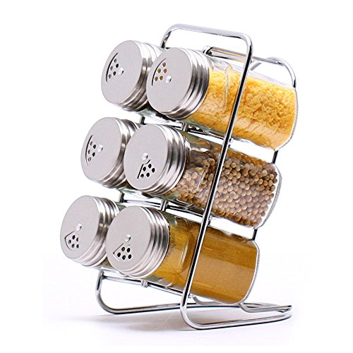 MKNzone Set mit 6 Gewürzgläsern, Gewürzdose Gewürzregal mit Tablett, Edelstahl Gewürzmischbehälter zum Aufbewahren von Gewürzen und Gewürzen für das Kochen in der Küche und Barbecue (Condiment Tray Mit Deckel)