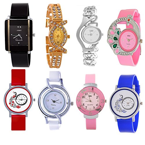 Codice Combo Of 8 Analogue Black, Blue, Pink, White, Red, Golden Dial Girls Watches-Codice-Com8-Girlswatches-08