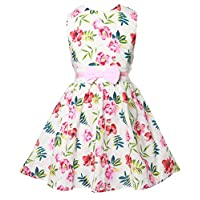 Gorgeya Girls Sleeveless Dress Kids Wedding Party Vintage Dresses Flower Floral Print Bowknot Casual Sundress for Toddler Girl Age 2 to 9 Years, 7-8 Years, 2-pink