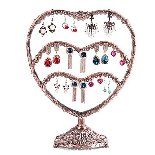 sannix Tisch Top Herz Form Schmuck Organizer zum aufhängen Ohrring Halter Halskette Schmuck Display Ständer Rack bronze