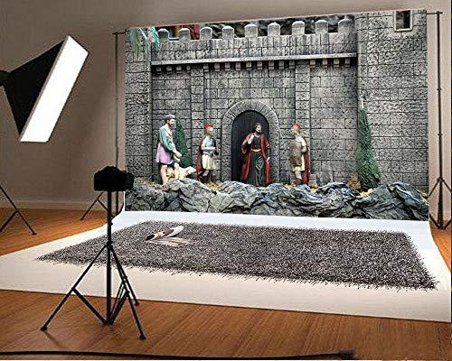 EdCott 7x5FT Vinyl Fotografie Hintergrund Jesus Carving Statue Felsen Steine   Verwitterte Backsteinmauer Bogen Tür Kultur Foto Hintergrund Kinder Baby Erwachsene Porträts Hintergrund (Machen Baby-dusche Kit Bogen)