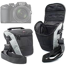 DURAGADGET Housse de Transport Moyenne pour appareils Photo Panasonic Lumix GF8 et DMC-FZ300, Nikon Coolpix B500 et B700 Bridge et Pentax K-1 SLR et Leurs Accessoires + bandoulière Bonus