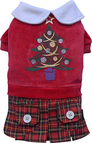 Doggy Dolly ST011 Hundekleid Weihnachtsbaum mit Schottenrock, rot, Größe : XXS