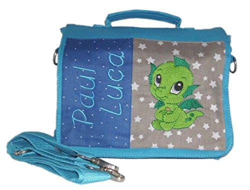 pinkeSterne ☆ Kindergartentasche Kindertasche Multi-Tasche Rucksack Umhängetasche Dino Drache Hellblau (Bestickte Tote Personalisierte Tasche)