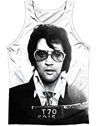 Elvis Presley Rock Music Icon Police Photo Front/Back Print Tank Top Shirt
