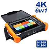 IP-Kamera-Tester, 8-Zoll-2K-Retina-Touchscreen 6-in-1-CCTV-Tester-Monitor mit CVBS/TVI/CVI/AHD/EX-SDI/Digitalmultimeter/Kabelspanner/TDR/OPM/VFL/POE/WLAN/HDMI-Eingang Prüfer