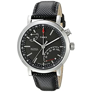 Timex Metropolitan + – Reloj Deportivo (Negro, Acero Pulido, Gris, Acero Inoxidable, Resistente al Agua, Cuero, Glass, Mineral, 5 ATM)