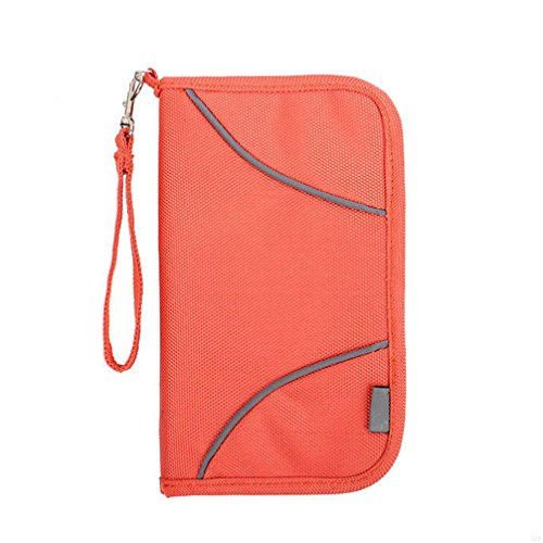 SLBGADIEME Travel Wallet Passport Holder With RFID Blocking Offer Family Organizer For Credit & Business Card, Document, Boarding Pass, and Accessorie(Orange) (Wallet Haut Bi-fold)
