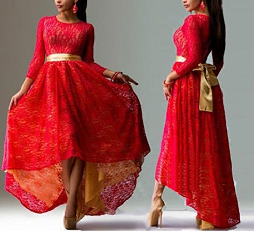 SHUNLIU Damen Elegant ALinie Abendkleid Lang Klieder Harness Kleid Chiffon  Rock Langes Rot