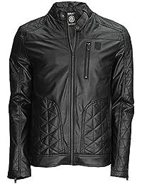 Soulstar Mens PU Faux Leather Jacket Keegan Long Sleeved Slim Quilted Biker Coat
