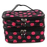 fenrad Portable Polka Dot Double-Layer Dual Reißverschluß Kosmetiktasche Kulturtasche Kulturbeutel Makeup Bag Toiletbag -- Schwarz + Pink