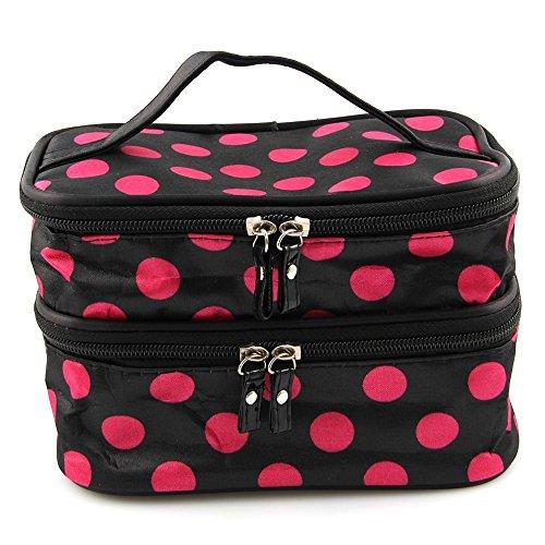 fenrad Portable Polka Dot Double-Layer Dual Reißverschluß Kosmetiktasche Kulturtasche Kulturbeutel Makeup Bag Toiletbag -- Schwarz + Pink (Kleine Dot Polka)