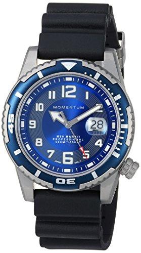 Momentum Men's 'M50' Quartz Stainless Steel and Rubber Casual Watch, Color:Black (Model: 1M-DV52U1B)