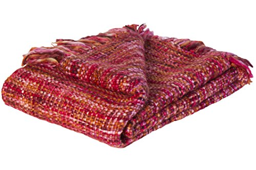 Jute & co Zanzibar hochwertige Decke Stoff Handarbeit, 100% Acryl, rot, Einzelbett, 150x 125x 0.5cm -
