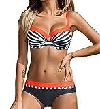YaoDgFa Sexy Damen Bikini Bademode Badeanzüge Bikinis für Frauen Mädchen Bandeau Push Up mit Bügel Neckholder Bandage Große Größen