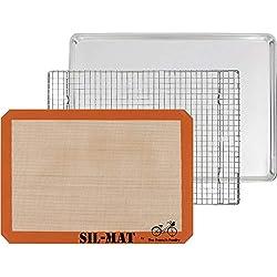 Ensemble de cuisine 3 pièces pour cadeau - Plateau en aluminium, Plaque de cuisson SIL-MAT en silicone et Grille dessous de plat en acier inoxydable
