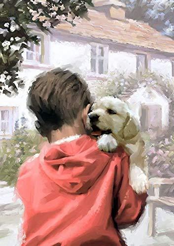 1pc Familie Boy White Labrador Retriever Puppy Dog House Pet, Landschaft, Natur, Tier, Acryl Diy Malerei Durch die Anzahl der Hobby-Kit, Home Wand