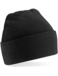 Beechfield Knitted hat with turn up in Black