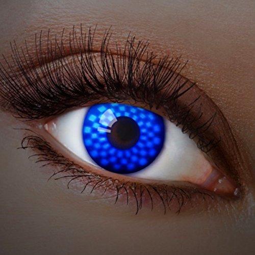 Farbige Kontaktlinsen Blau Ohne Stärke Blaue Motiv-Linsen Farbig Jahreslinsen Halloween Karneval Fasching Cosplay Crazy Kostüm UV Neon Dunkel Blue (Erwachsene Cyborg Kostüme)