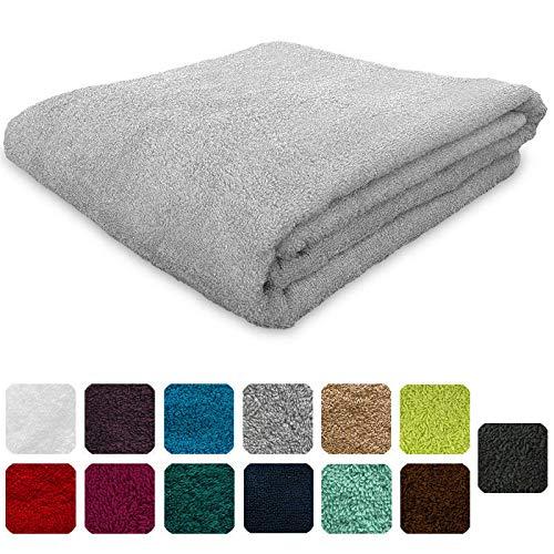 Lanudo®, asciugamano da 600g/m² pure line, 50x 100cm, con bordo, 100% spugna di cotone di alta qualità, 100%  cotone, argento, 50 x 100 cm